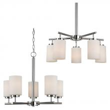 Sea Gull 31161BLE-05 - Fluorescent Five Light Chandelier in Chrome Finish with Cased Opal Etched Glass