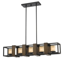 "CAL Lighting FX-3588-5 - 80"" Inch Tall Metal And Wood Island Fixture In Dark Bronze Wood Finish"