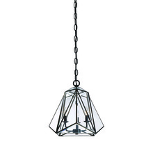 Eurofase Online 31645-010 - Glacier Hand Crafted Prism Lantern, Tiffany Glass Shade, Hand Crafted Bronze Frame, 3 B10 Light Bulb